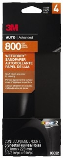 3M - 03022 - Wetordry Sandpaper, 03022, 3-2/3 in x 9 in, 800 grit, 5 sheets per pack