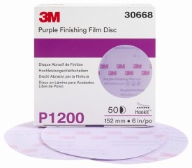 3M - 30668 - Purple Finishing Film Hookit Disc, 6 inch, P1200 grit