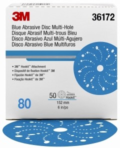 3M - 36172 - Hookit Blue Abrasive Disc Multi-hole 6 in, 80, 50 discs per box - UU004899736