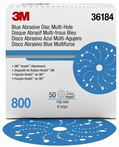 3M - 36184 - Hookit Blue Abrasive Disc Multi-hole 6 in, 800, 50 discs per box - UU004899835